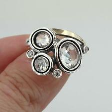 Crystal Ring, 925 sterling Silver and 9k yellow gold ring,Three Stone Ring