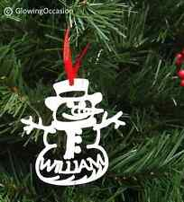 Personalised Childs Babies Name Snowman Christmas Xmas Tree Decoration Bauble