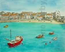St Ives Cornwall Mounted art print of a watercolour painting blue ocean seaside
