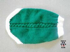 Green and white sweater for dogs-size Medium-handknit in USA