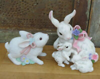 Porcelain White Easter Bunny Rabbit w 2 bunny babies Figurine & Blossoms 1444