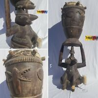 AGED PRIME Senufo Senoufo Drum Figure Sculpture Statue Mask Fine African Art