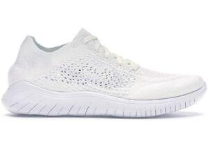 Nike Free RN Flyknit 2018 White Running Women Sz 10.5/ Men Size 9 1942838 100