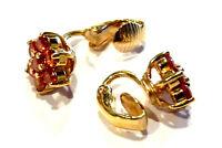 Bijou boucles d'oreilles rosace clips cristaux oranges plaqué or 18 carats