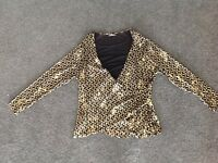 BEE AUSTRALIA black gold womens long sleeve top Blouse Size 16 18 Stretchy