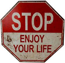 Wanddeko Wandbild Schild Retro Vintage STOP Enjoy your Life 40x40 MDF zum hängen