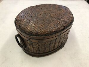 Fabulous Vintage Chinese or Japanese Oriental Woven Basket Box
