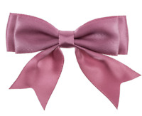 Dusky Pink Large 25mm Satin Ribbon Ready Made Craft Double Bows - Pack of 5