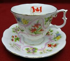 """ROYAL ALBERT china OUR EMBLEMS DEAR Flowers of Canada Cup & Saucer Set - 3"""""""