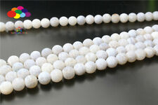 Diy 6/8/10mm Natural WHITE Weathered Stone Round Beads fit Yoga bracelet