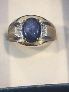 14k Yellow Gold Diamond and Star Sapphire Men's Ring