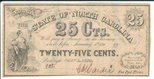 NC27B State of North Carolina 1863 25c Note On GA Notes