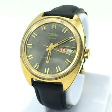 Vintage gold plated SLAVA men's mechanical Watch Date Day Shockproof balance SU