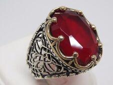 Turkish Handmade Jewelry 925 Sterling Silver Ruby Stone Men Ring Sz 10