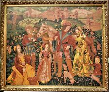 Renaissance Era Gobelin Hand Stitched Tapestry in a 134*112cm Gold Platted Frame