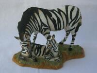 Franklin MInt Porcelain MOUNTAIN ZEBRA Worlds Endangered Animals Mother and Baby