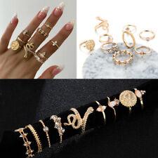 Geometric Rhinestones Knuckle Midi Opal  Boho Ring Set Snake Finger Rings