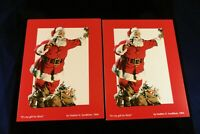 TWO: 1954 Coca Cola Santa Christmas Cards by Haddon H Sundblom 1954