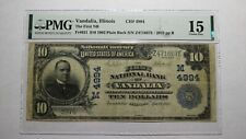 $10 1902 Vandalia Illinois IL National Currency Bank Note Bill Ch. #4994 F15 PMG