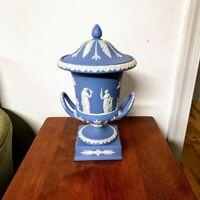 """Vintage Wedgwood Cream on Pale Blue Jasperware 11 1/4"""" Urn Vase Sacrifice Figure"""