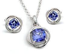 Tanzanite Cushion Cut Infinity Pendant/Earrings set .925 Sterling Silver