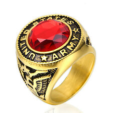 Punk Exclusive United States Army Soldier Ring For Men Red Glass US size 7-15