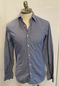 Z ZEGNA   MENS BLUE CHECK SHIRT   SIZE SMALL S   SLIM FIT   BUTTON UP