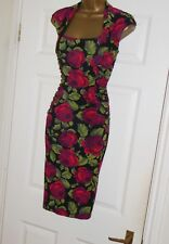 Phase Eight stretchy rose print pencil wiggle evening party cocktail dress sz 10