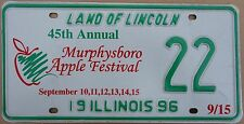 "Illinois 1996 ""Murphysboro Apple Festival"" USA Number License Plate American 22"