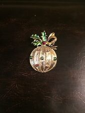 Vintage Signed Gerrys Gold Tone Christmas Ornament Holly Enamel Brooch Pin