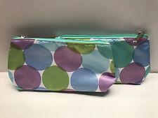 Lot of 2: CLINIQUE Dot Print Cosmetic Makeup Bag Set