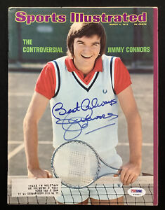 Jimmy Connors Signed Sports Illustrated 3/4/74 Tennis ATP US Open Auto PSA/DNA