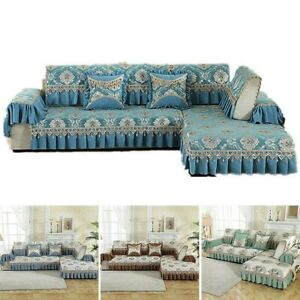 Floral Sofa Cover Ruffled Lace Couch Slipcover Armrest Back Protector Pillowcase
