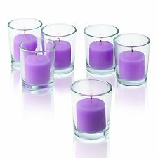 72 Clear Glass Round Votive Candle Holders & Lavender votive candles Burn 10 Hrs