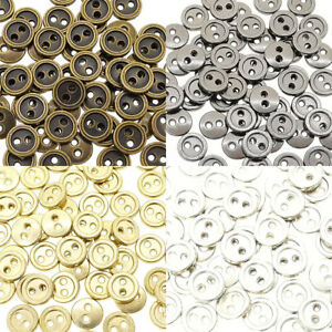 8mm Round Doll Clothes Sewing Sew On Plated Metal Miniature Buttons with Rim 60p