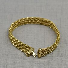 14K Yellow Gold Triple Strand Twisted Rope Bracelet 10mm Wide 8 Inch