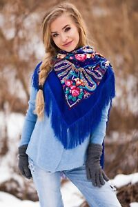 Large colourful Russian style folk shawl scarf Lilies spring collection 2018
