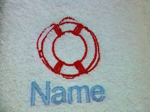 LIFE RING and Personalised Name Embroidered onto Towels Bath Robes Hooded Towel