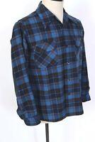Vintage PENDLETON 100% Wool Plaid Loop Collar Board Shirt USA Mens Size Large