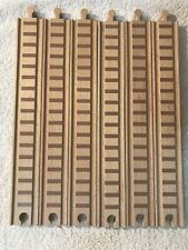 "Lot of 6 Straight 12"" Brio Thomas Wooden Railway Train Tracks Compatible M/F"
