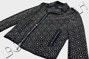 DSQUARED2 4900$ Authentic New Suede Blue Japanese Star Studs Embellished Jacket