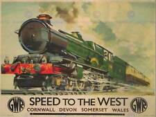 TRAVEL GWR RAILWAY RAIL TRAIN STEAM ENGINE CORNWALL WALES UK RETRO POSTER 2390PY