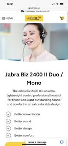 Jabra Hands Free Communication BIZ 2400 II Duo NC Bundle With Bag Work Office