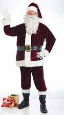 "Deep Crimson Red Velvet 6 Pcs Santa Claus Suit Adult STD 42"" Costume Belt Glove"