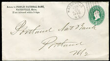 Postal Cover - WATERVILLE ME TO PORTLAND me - JUN 22 1892 NATIONAL BANK - S6405