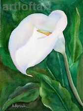 Calla Lily #2  FLOWER ACEO Art  Card Print by A Borcuk