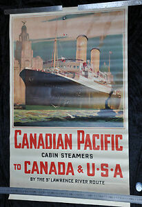 ANTIQUE ORIGINAL TRAVEL POSTER USA CANADIAN PACIFIC LAWRENCE RIVER ROSENVINGE