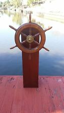 Wood Ship's Wheel Mounted On Yacht Steering Station~Sailboat Helm~not a binnacle