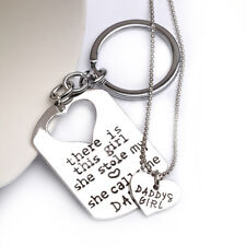 Father Daughter Dog Tag Keychain and Matching Heart Necklace Set