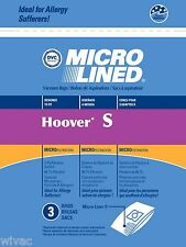 3 Hoover Type S Microlined Vacuum Cleaner Bags Futura Spectrum Windtunnel Futura